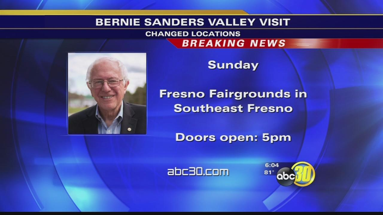 Bernie Sanders campaign moves rally to Fresno Fairgrounds