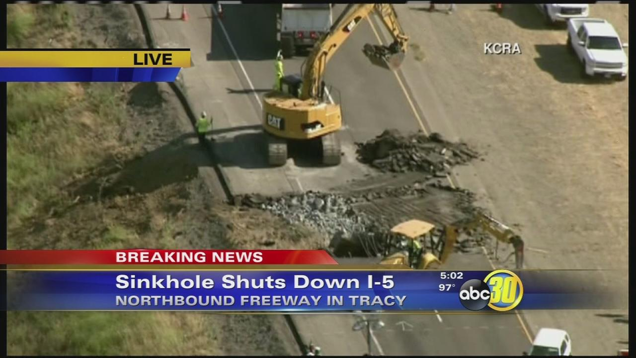 Sinkhole shuts down all northbound lanes on I5 near Tracy