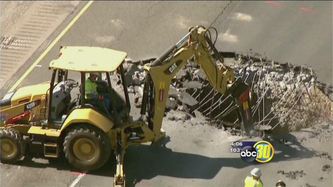 Section of I-5 near Tracy remains closed due to sinkhole