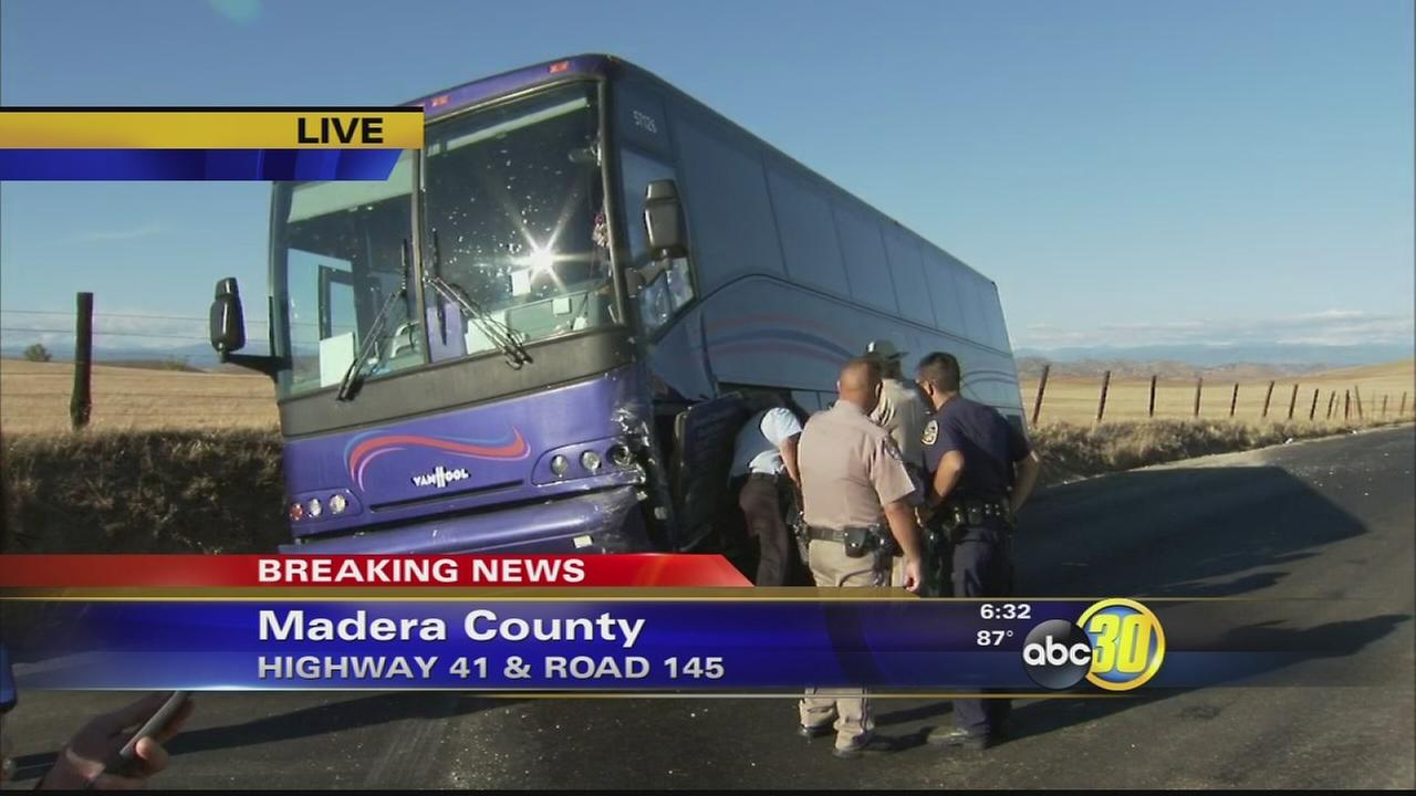 One person dies in crash involving a tour bus in Madera County