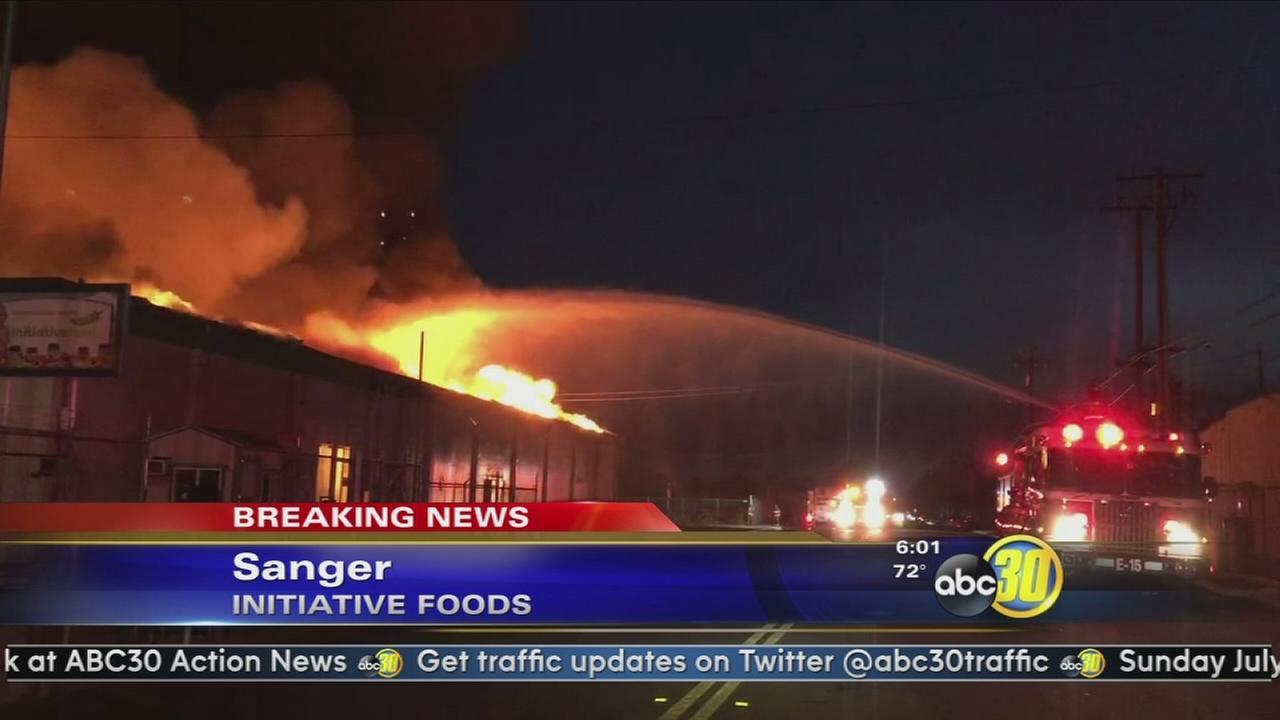 Firefighters battling massive blaze at Initiative Foods in Sanger