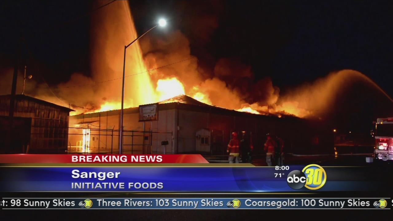 Firefighters battle a massive blaze at Initiative Foods in Sanger