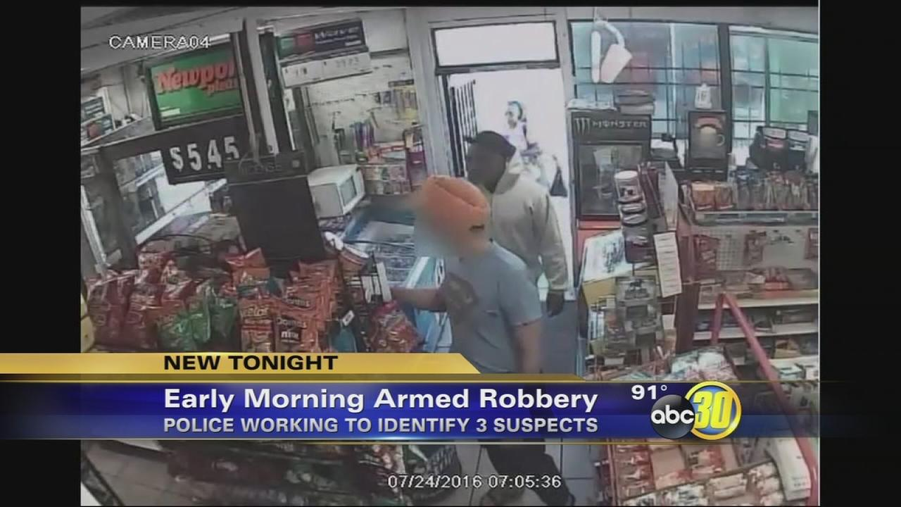 Fresno Police looking for suspects in armed robbery of a gas station