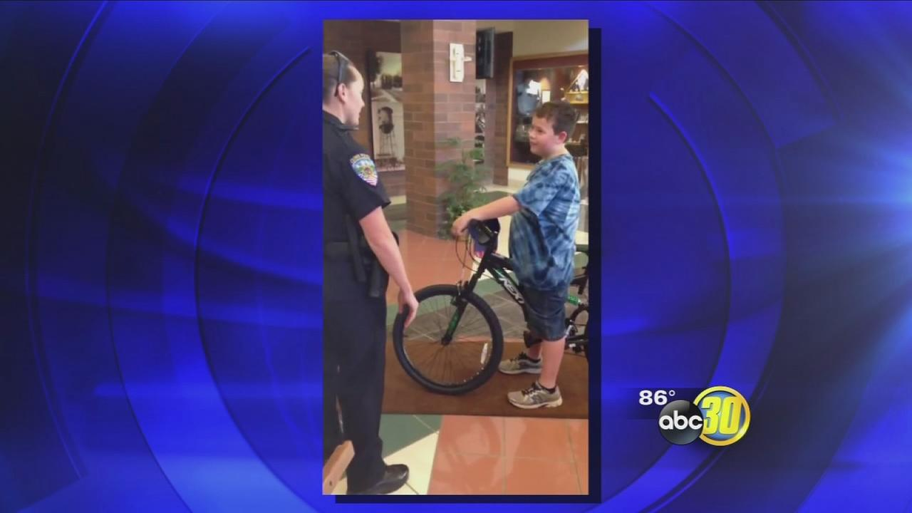 Clovis Police surprise 10-year-old theft victim with new bike