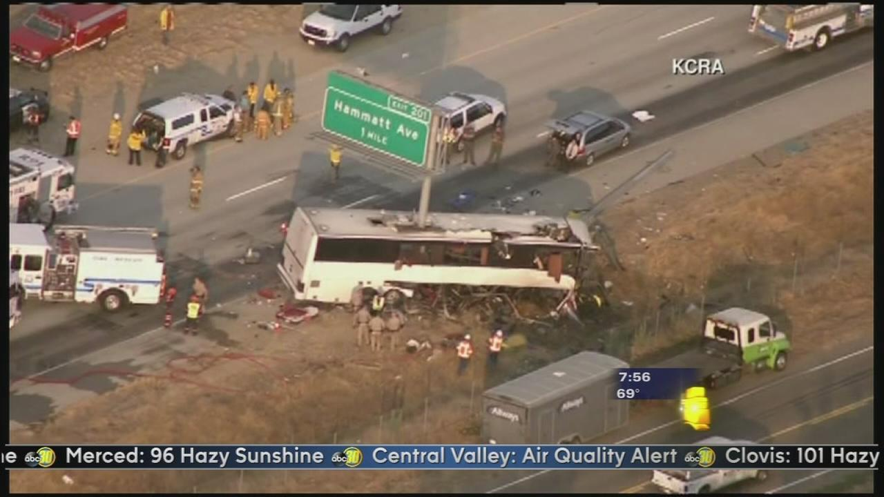 At least 5 dead in tour bus crash on Highway 99 near Livingston