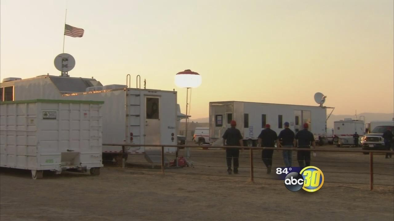 Base camp for firefighters battling Mineral Fire is refuge for those on the frontline