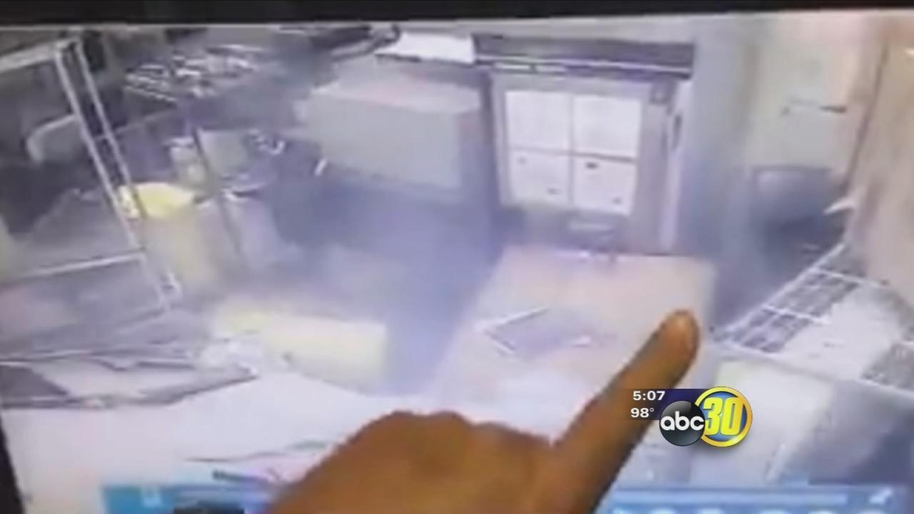 VIDEO: Sanger Me-n-eds employee thrown against wall when car crashes into building