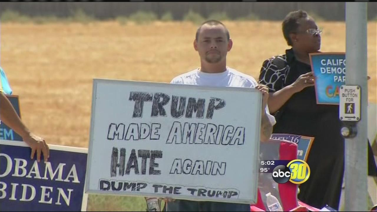 Trump Tulare visit draws peaceful protest