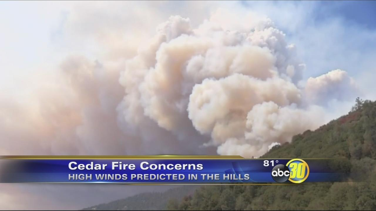 Firefighters brace for possible weather change that could cause problems with Cedar Fire
