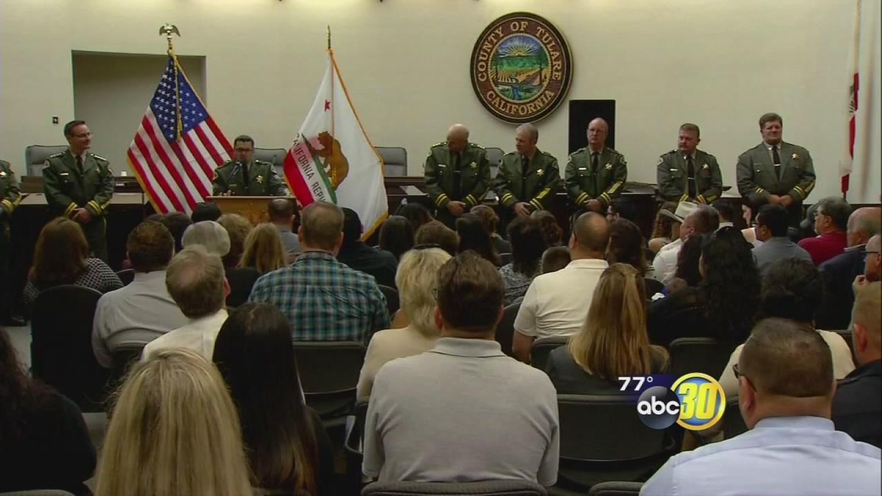 Tulare County Sheriff promotes 4 employees at event