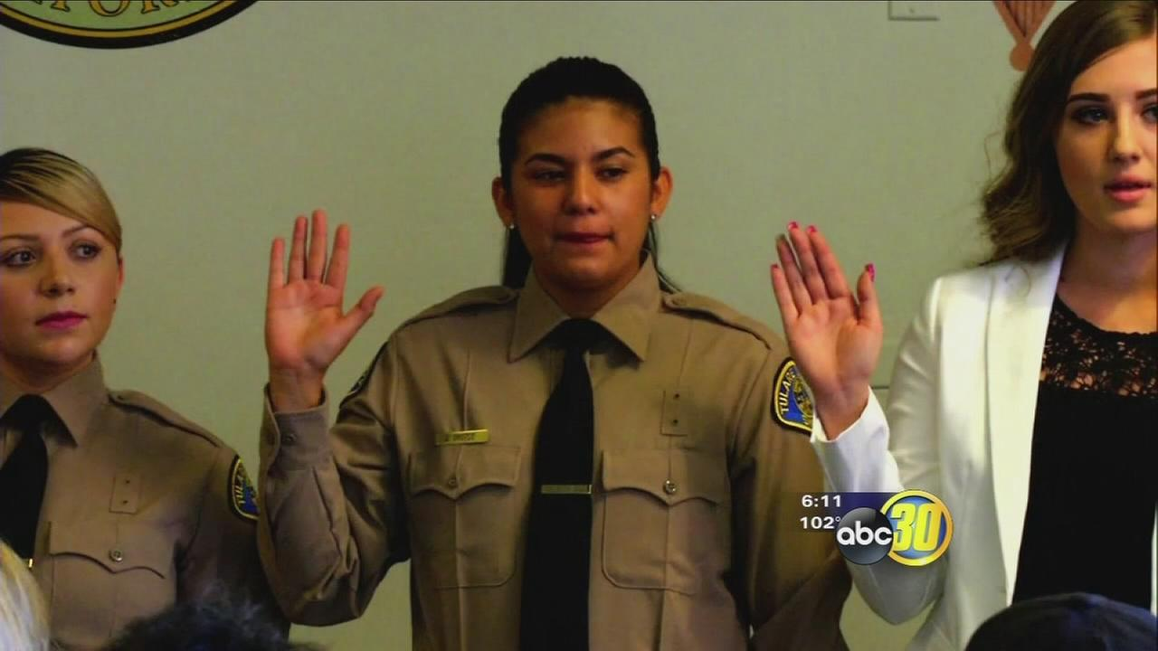 Tulare County Sheriff swears in first Pathways Scholarship recipient hire