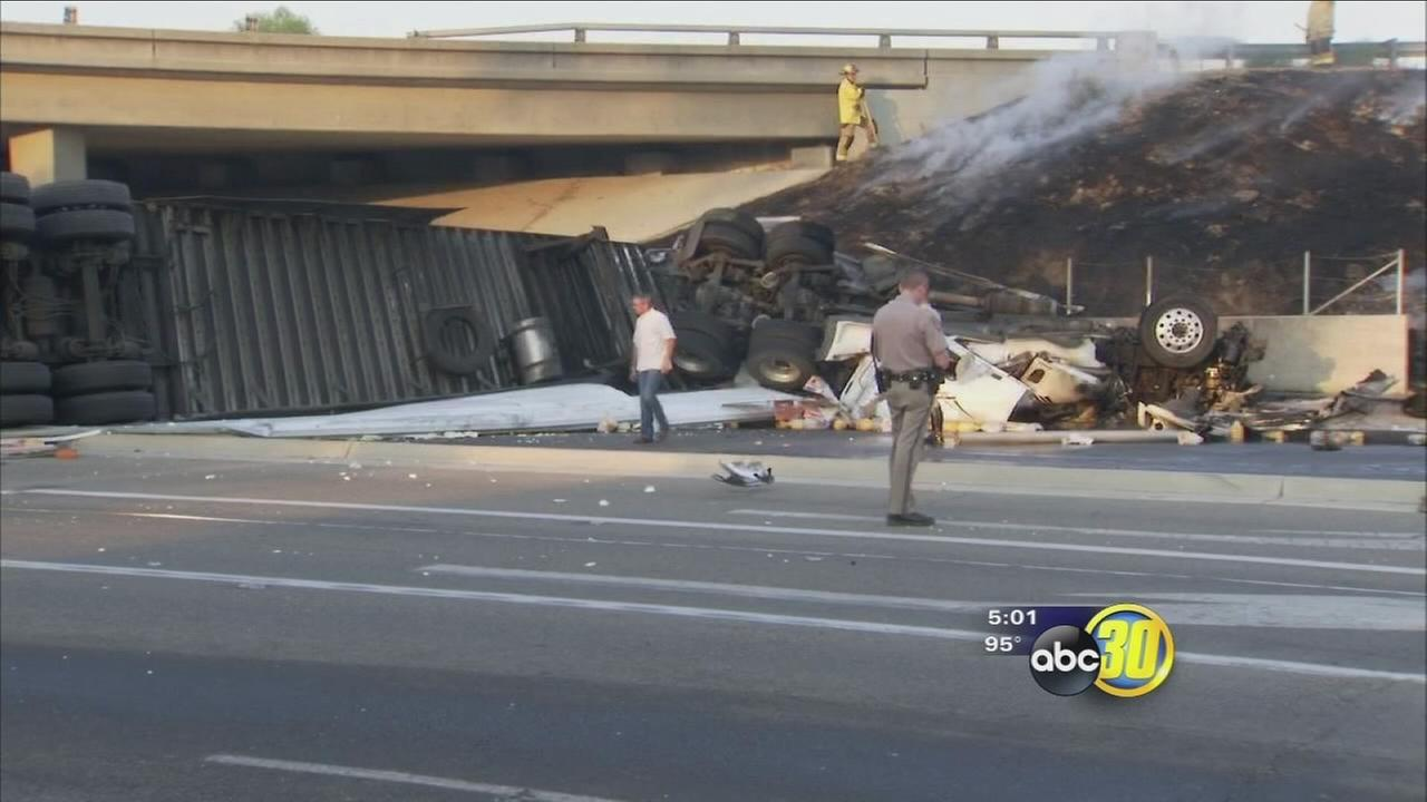 Driver killed after big rig crash, fire in Selma