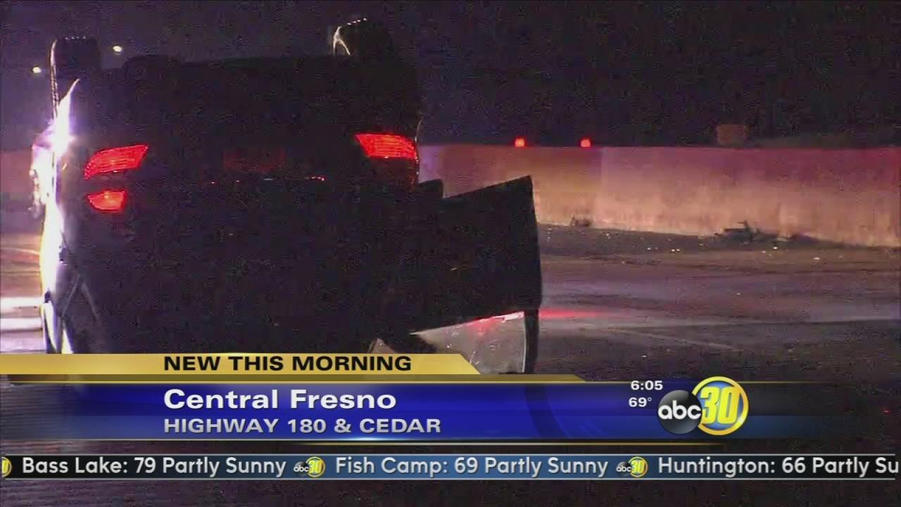 Woman walks away from rollover crash in Central Fresno