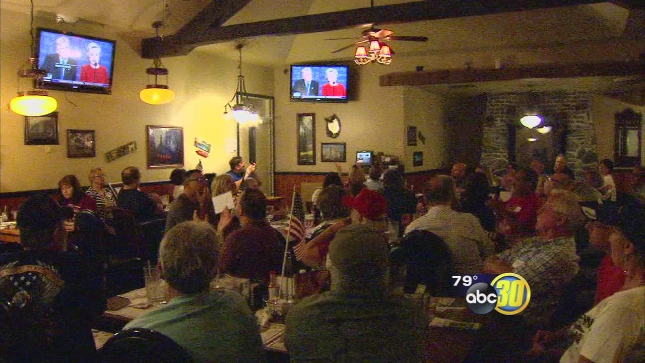 Crowds flock to Fresno watch parties as Trump, Clinton square off