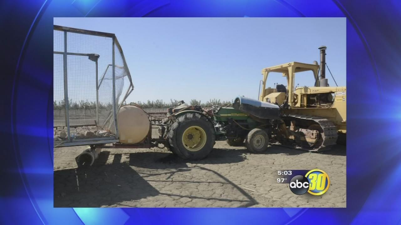 Runaway tractor destroys crops worth thousands in Fresno County