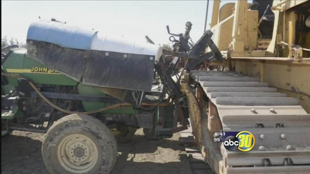 Runaway tractors destroy crops worth thousands in Fresno County