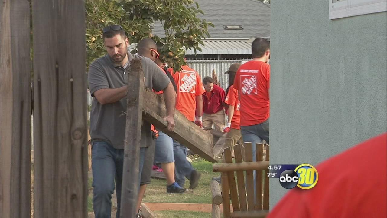 Volunteers from Home Depot broke out the hard hats and work gloves to help out Valley veterans