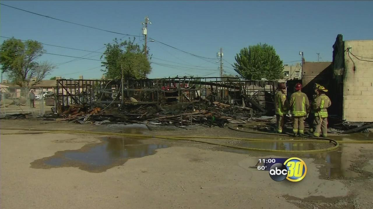 Crews battle 2-alarm fire in Huron