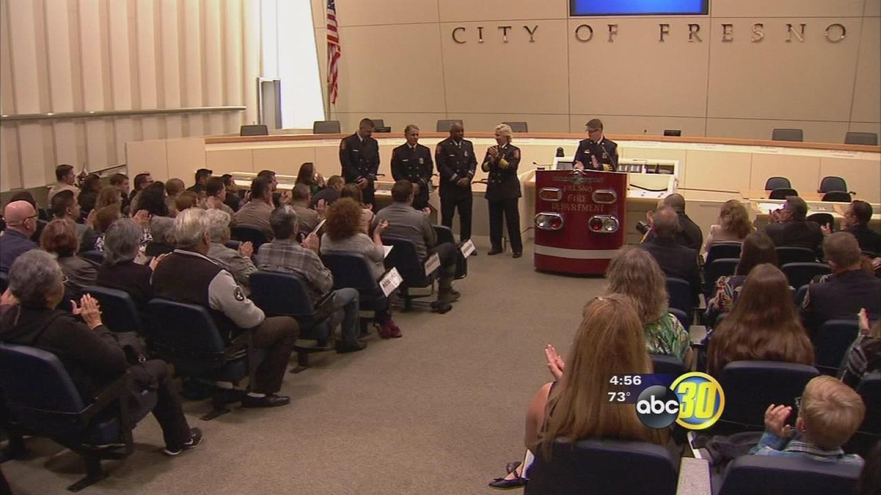 Fresno Fire promotional ceremony honored 3 firefighters their courageous efforts