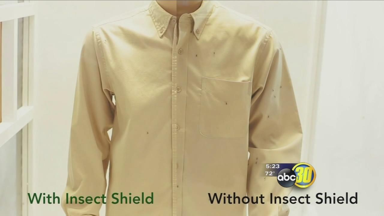 Clothing designed to repel mosquitos making the bugs bug off