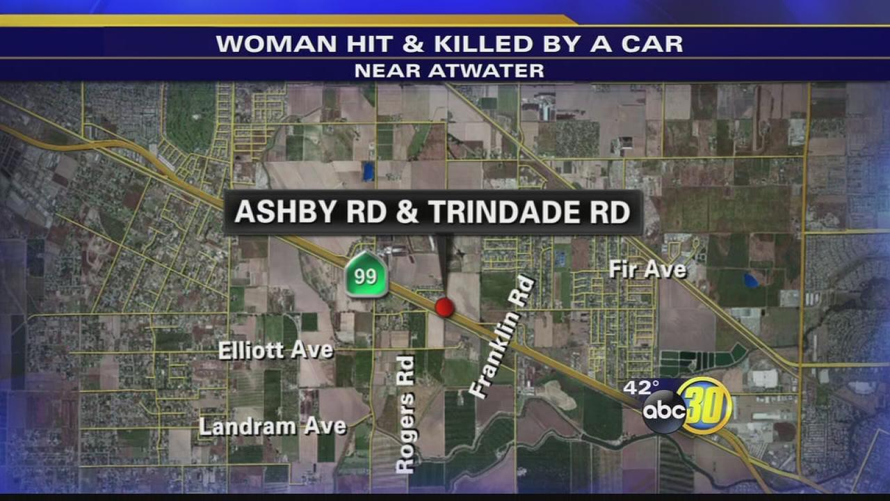 Woman found laying in road after being and killed by a car near Atwater