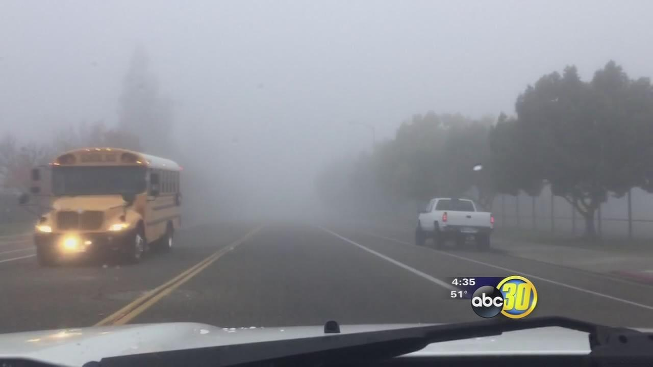Dense morning fog forced many schools in the Valley to cancel buses or start late