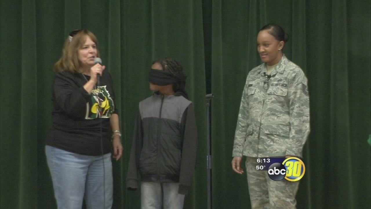 Spirit rally at a Fresno elementary school doubled as surprise homecoming for unsuspecting 4th grader