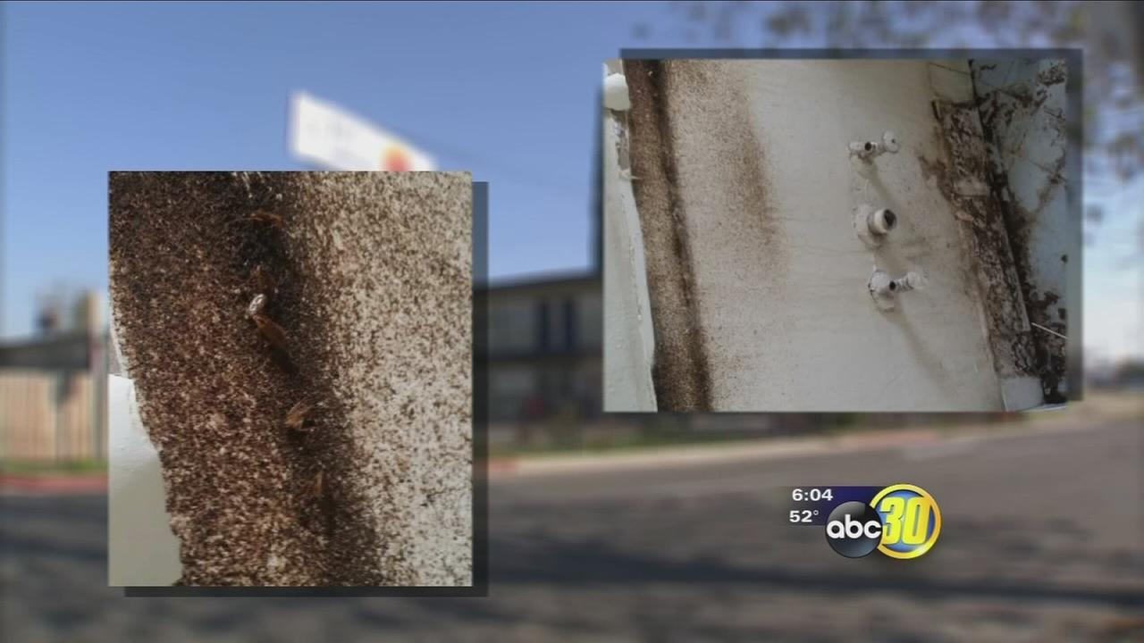 Residents of a Fresno long-term hotel say repairs are happening to slowly and people are getting sick