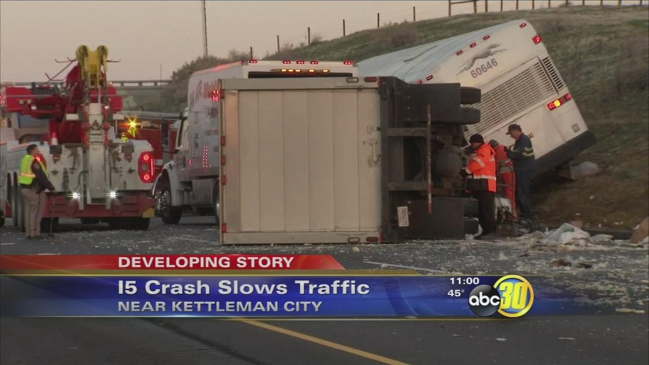 Semi-truck crashes into Greyhound Bus near Kettleman City