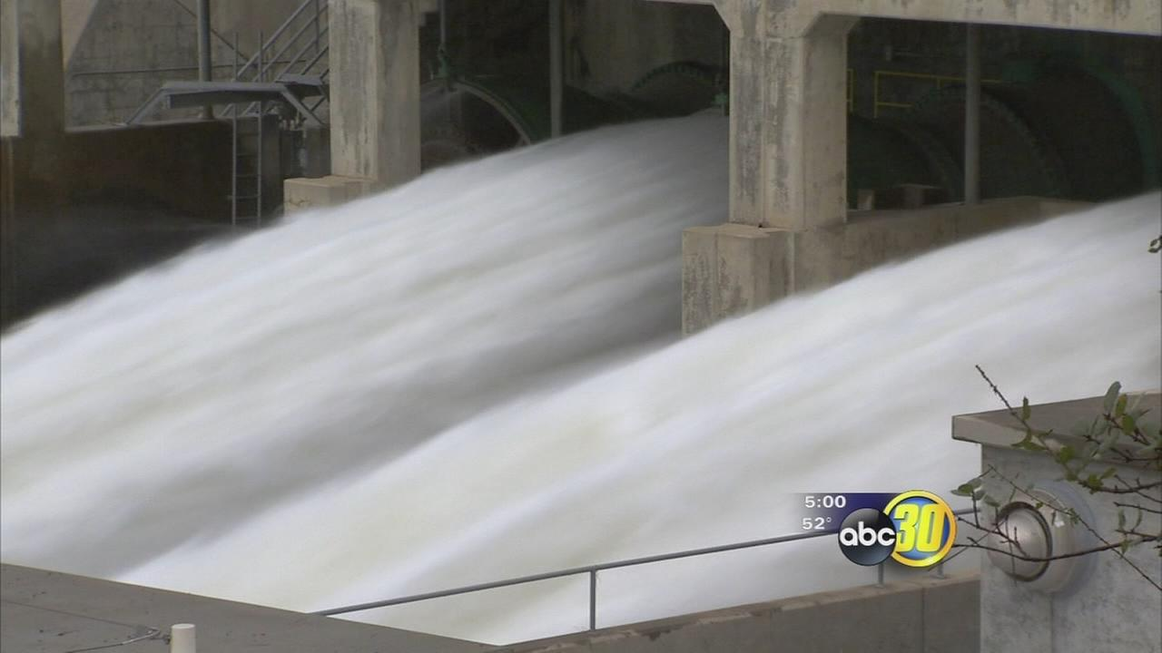 Water being let out of Friant dam in an effort to make room for rain water
