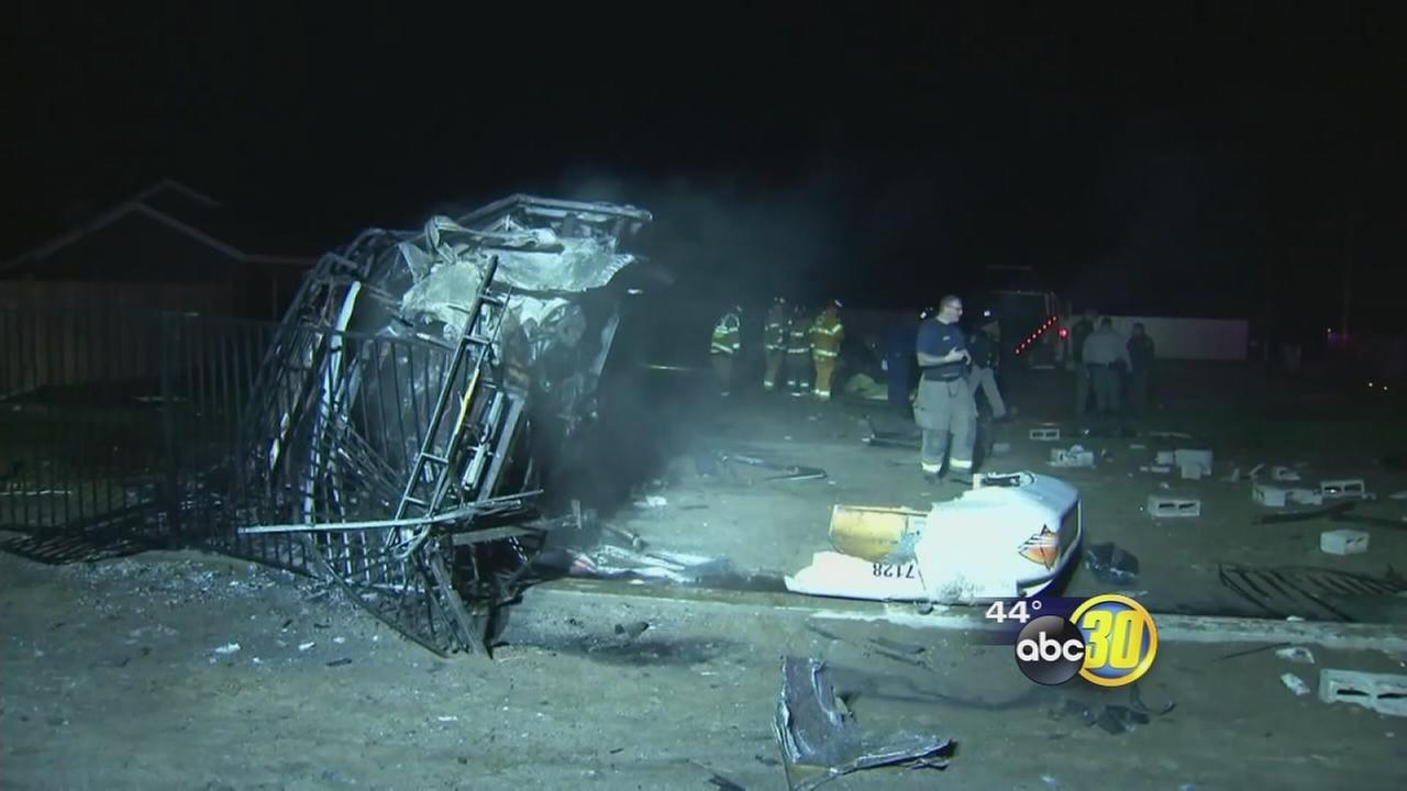 2 killed, transit bus in Tulare County bursts into flames after colliding with car