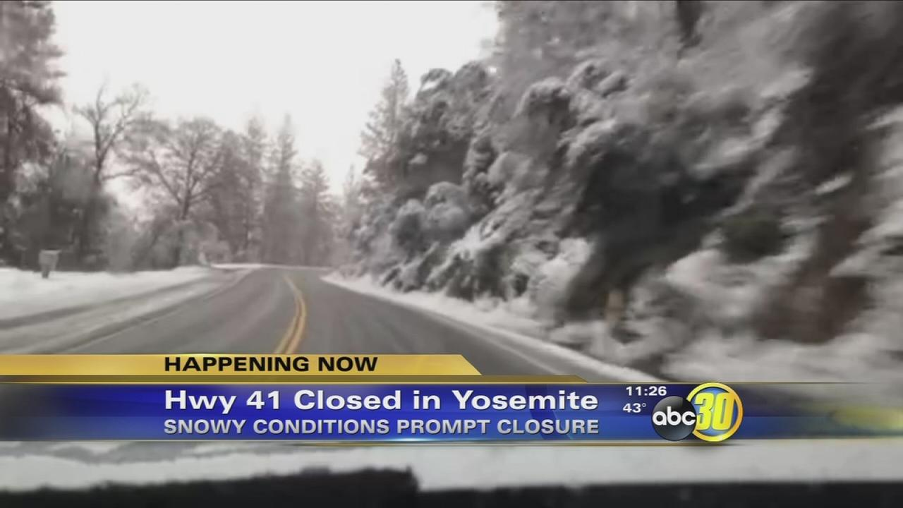 Snow closes Highway 41 from Wawona to Yosemite Valley