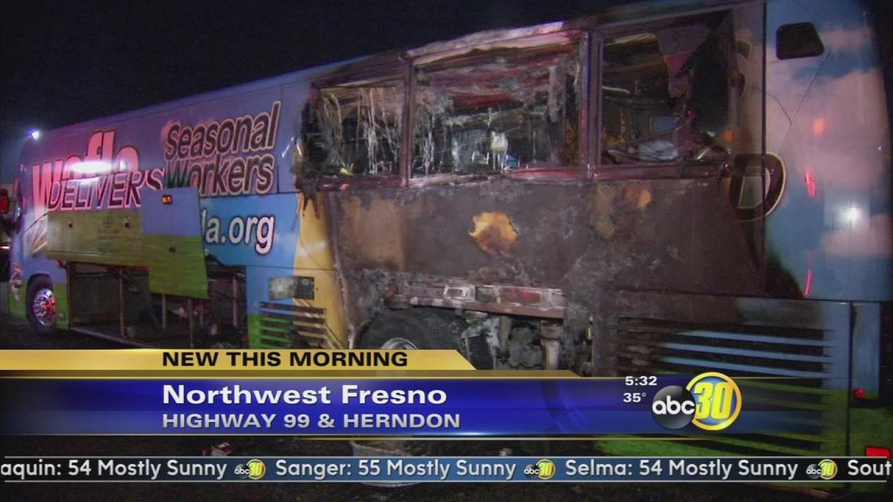 Passenger bus catches fire in north Fresno