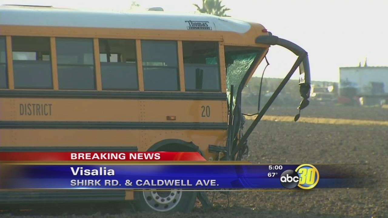 5 taken to the hospital after crash involving school bus just outside Visalia