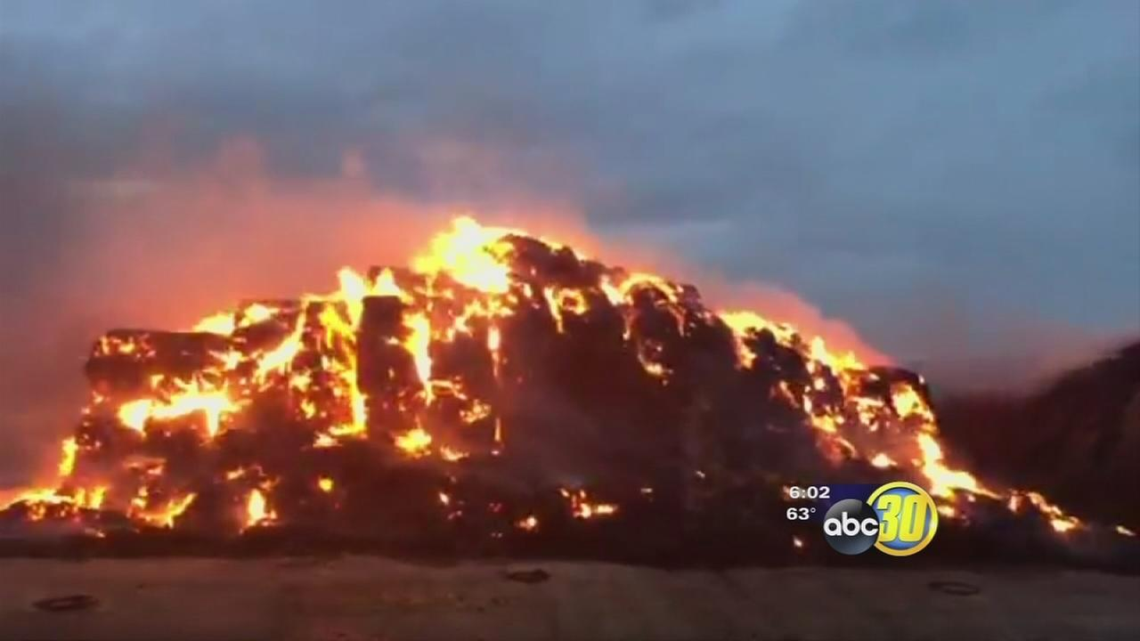 Nearly 1,000 tons of hay burning in Fresno County