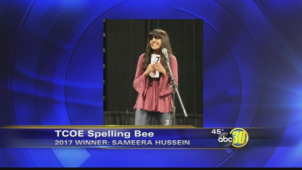 8th grader wins Tulare County spelling bee for third year, moves on to nationals