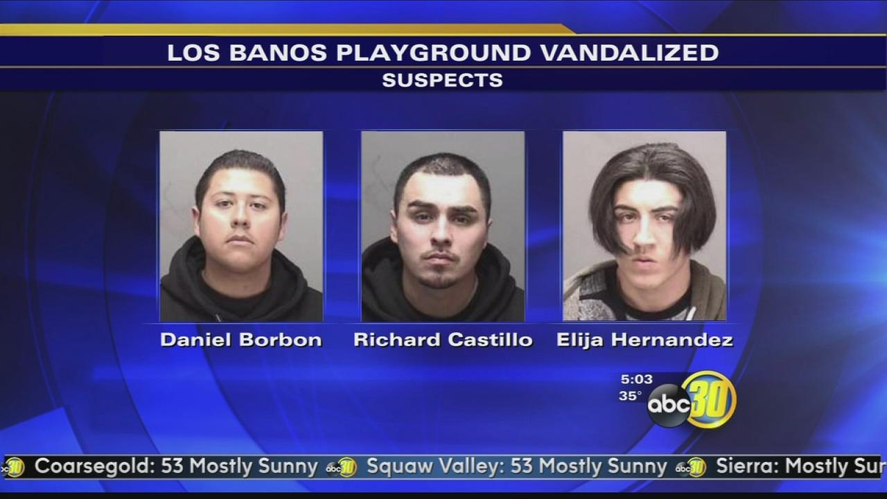 3 men, with paint on hands, arrested on vandalism charges in Los Banos, police say
