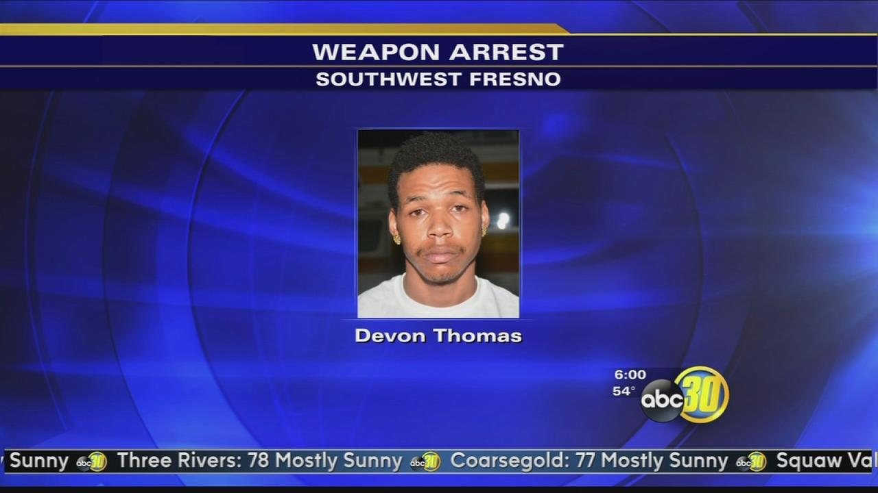 Police arrest a gang member with a sawed off shotgun in Southwest Fresno