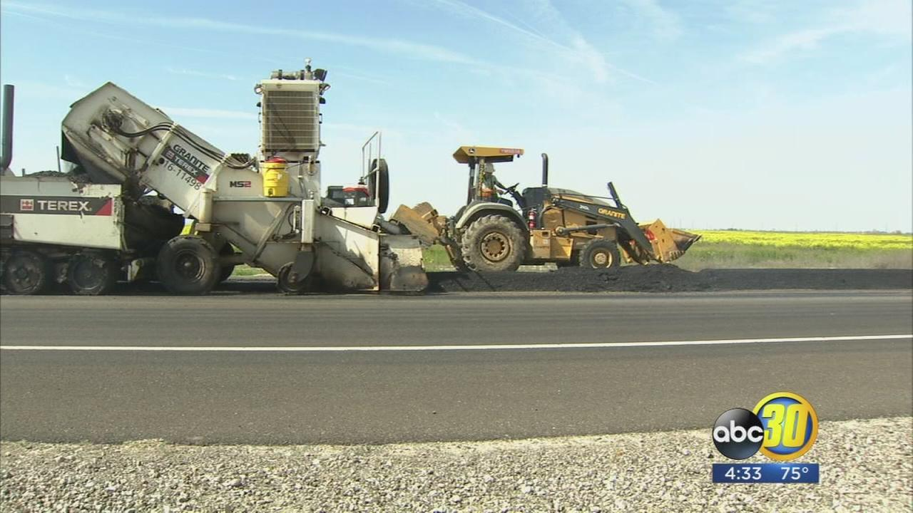 Highway 41 between Lemoore and Stratford undergoing major paving operation