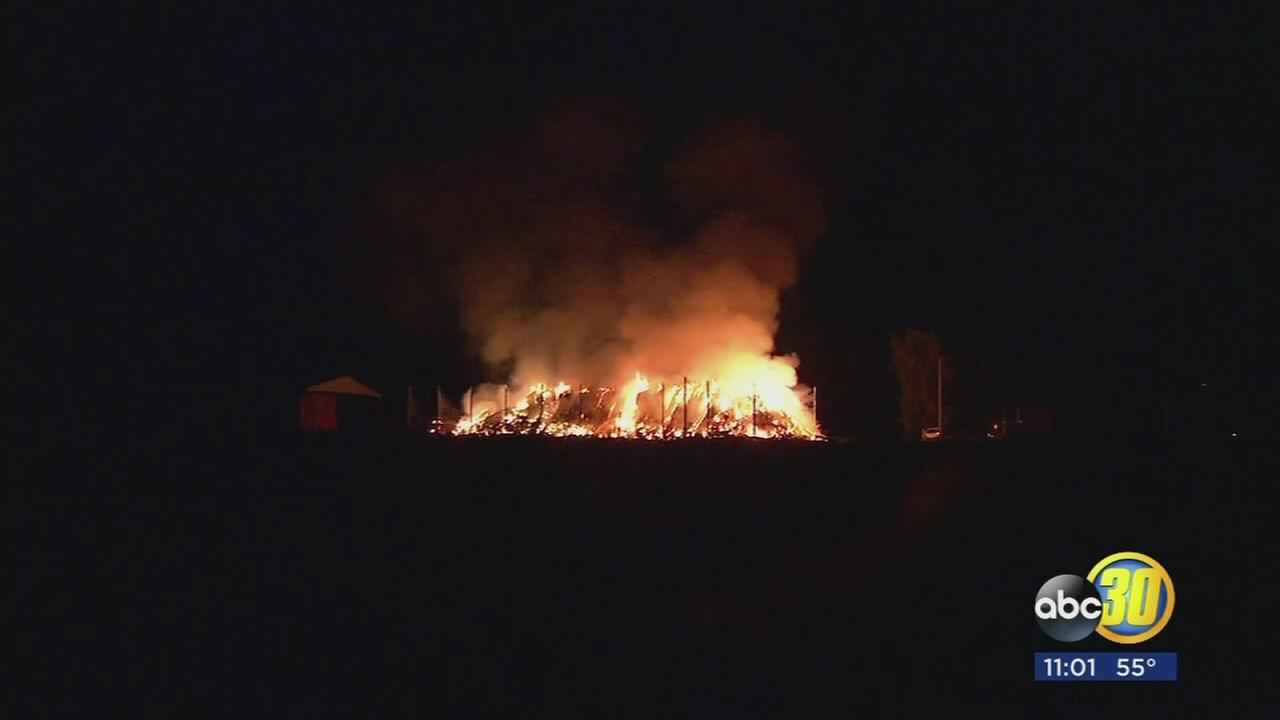 420 tons of hay on fire in Southwest Fresno