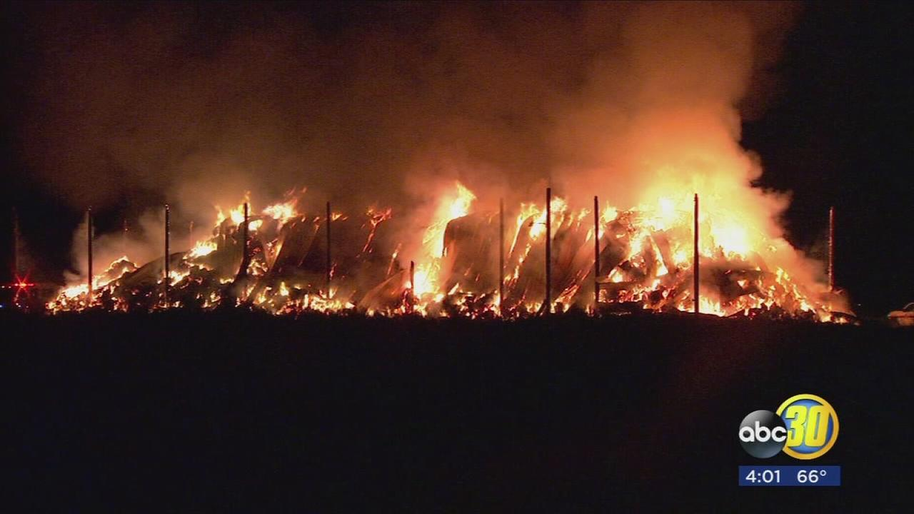 420 tons of hay on fire in Fresno County