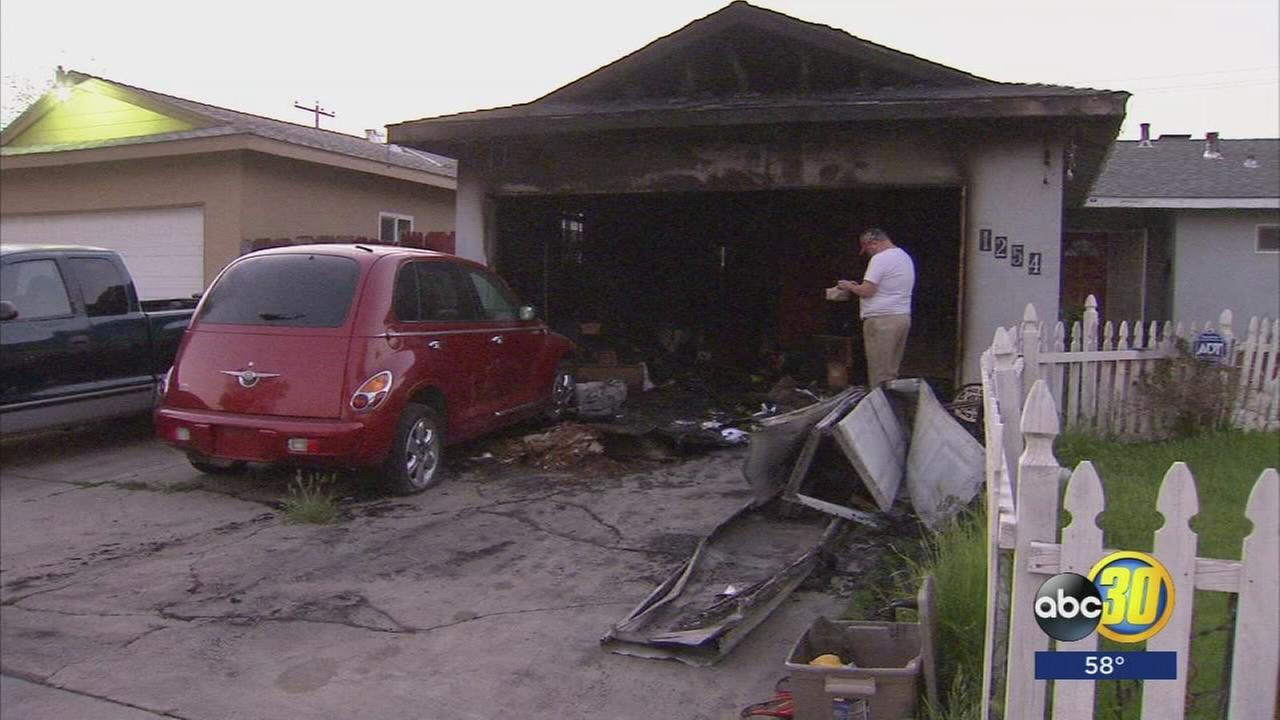 Efforts by police and firefighters saved family from a burning house in Los Banos