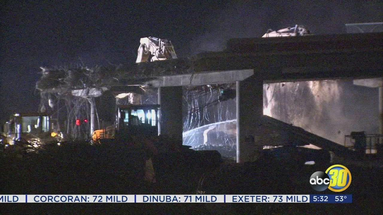 Highway 99 traffic back open at Clinton Ave after overnight overpass demolition