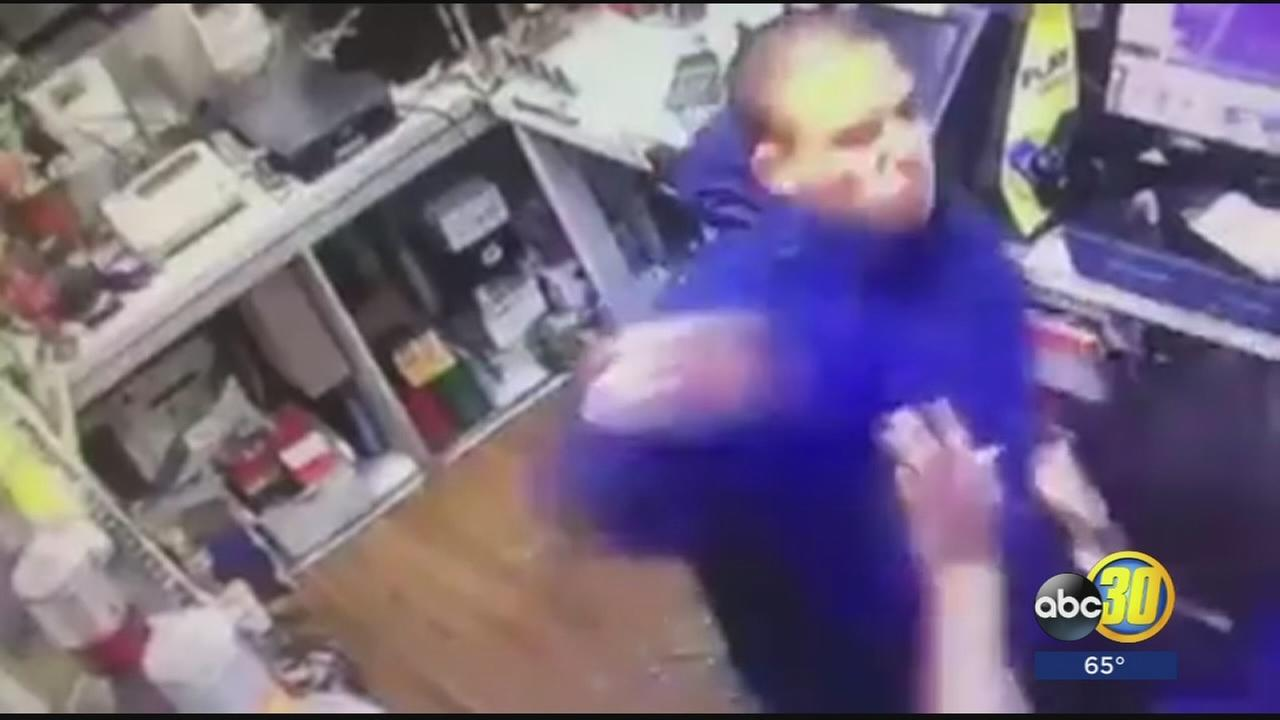 SURVELLIANCE VIDEO: Clerk at a Madera gas station gets into fist fight with robber
