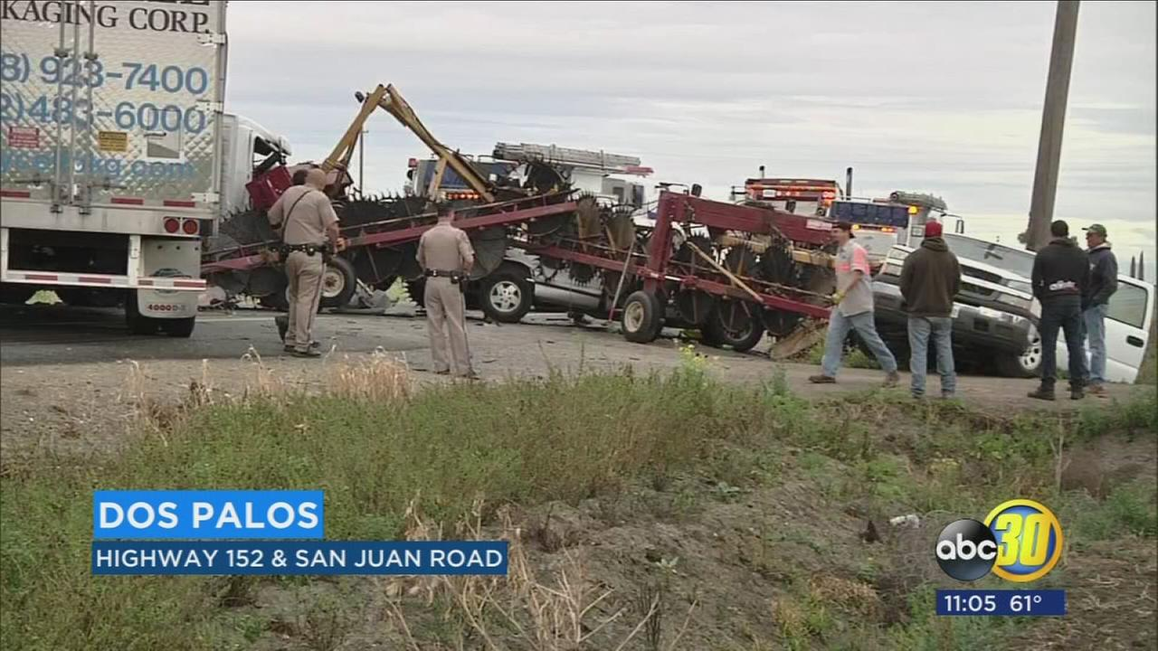 1 killed after 2 pickup trucks and semi-truck collide on Highway 152