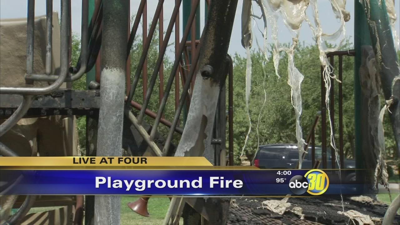 Fresno neighborhood playground damaged by fire