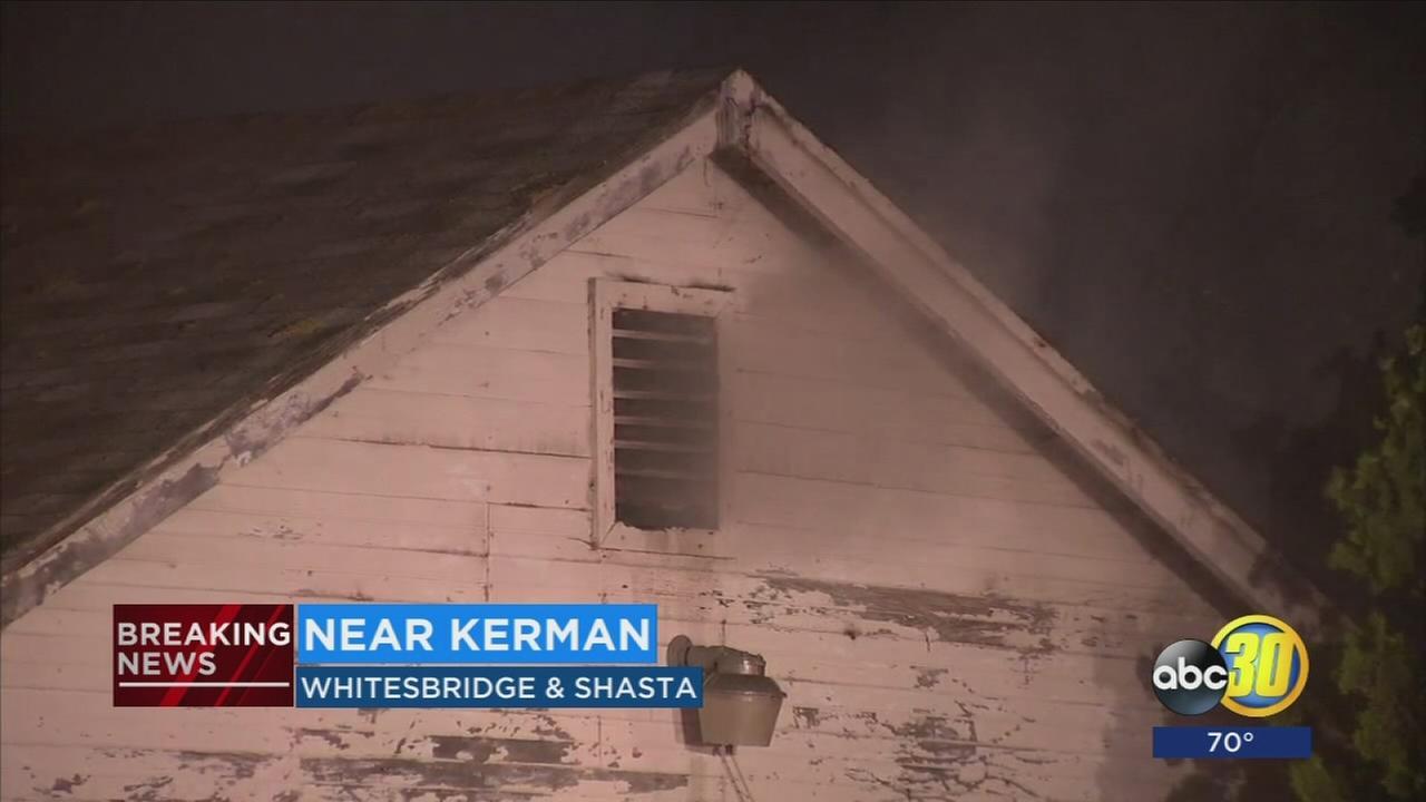 Fire crews battle house fire in Fresno County near Kerma