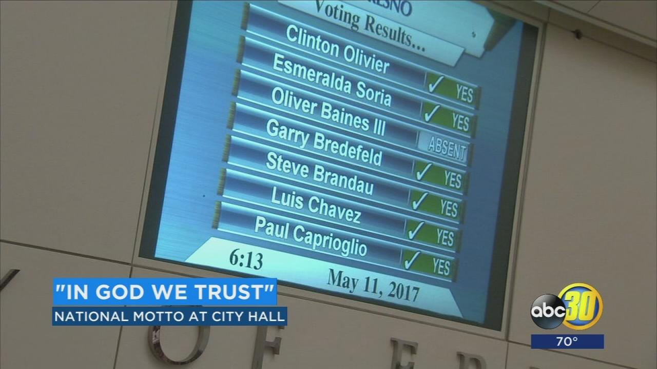 Fresno City Council approves resolution to install in God We Trust on council wall