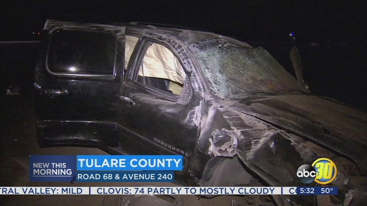 12 injured in two vehicle crash near Tulare