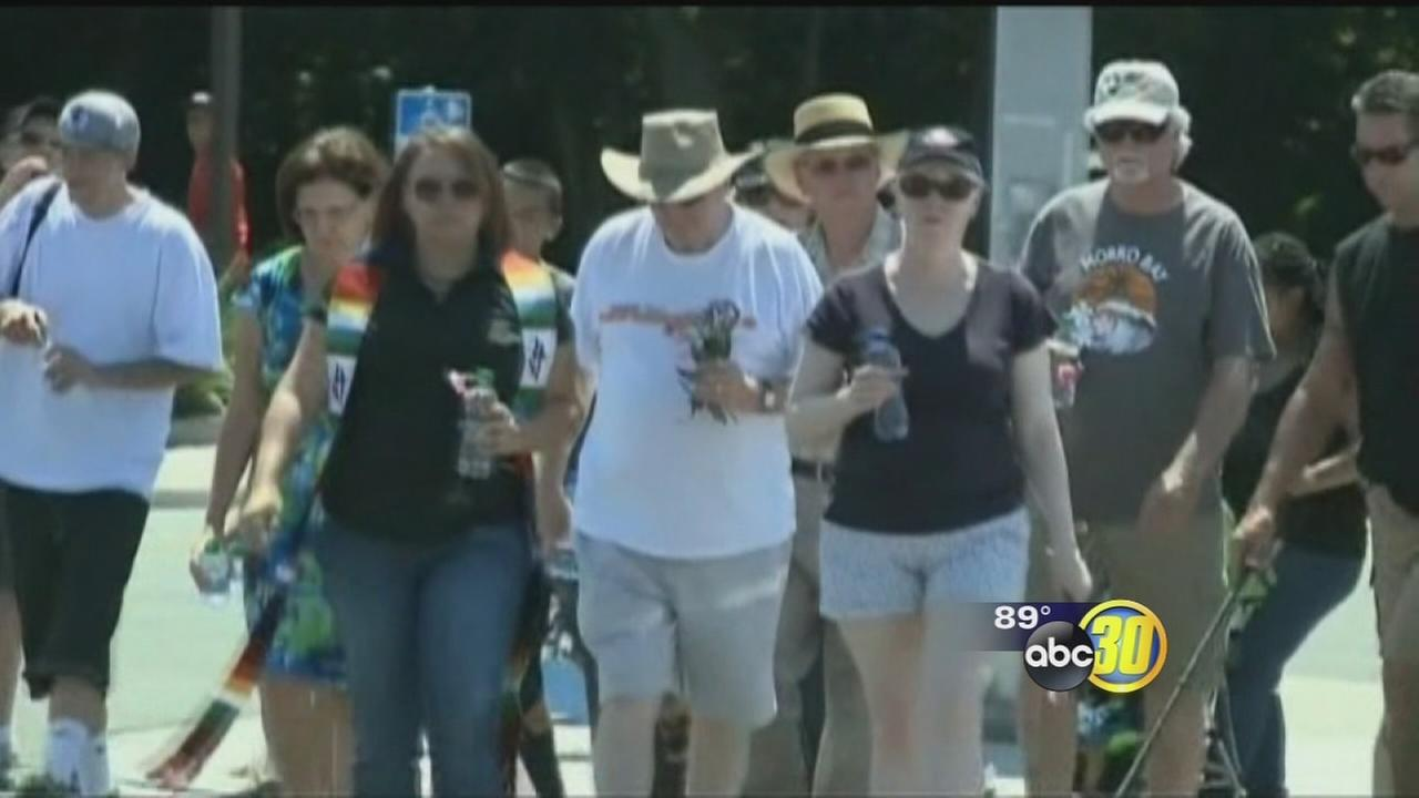 Memorial walk held in honor of woman killed after Stockton bank robbery